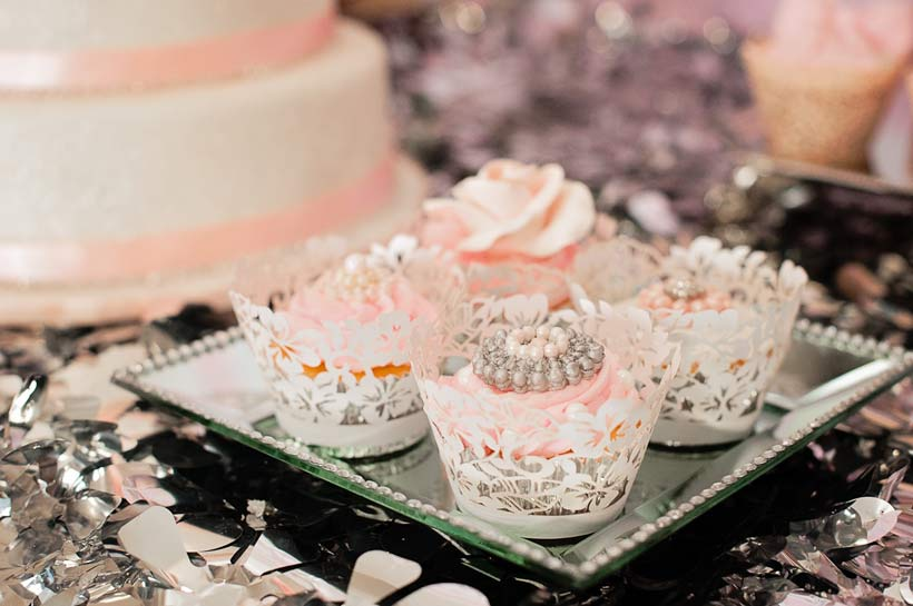 Pink jewelled cupcakes