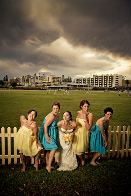 Bride with bridesmaids-blue and yellow