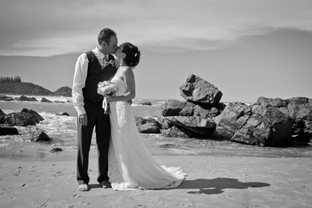 Bride and groom-beach wedding