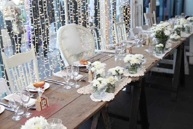 Lace and surf wedding table