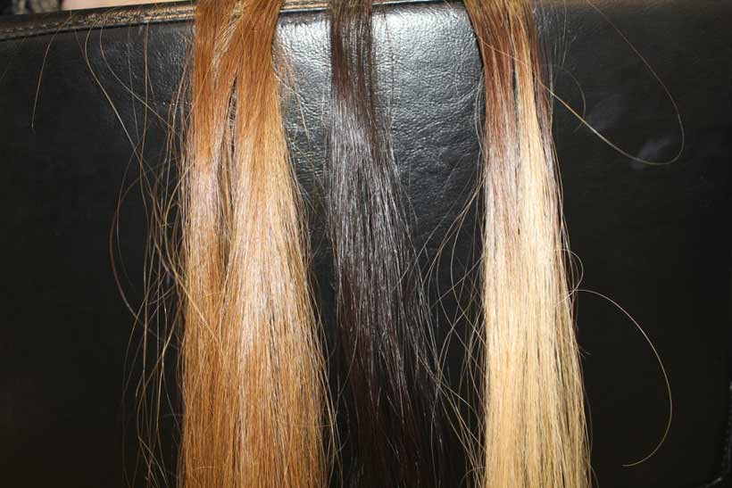 The three different colours of my extensions