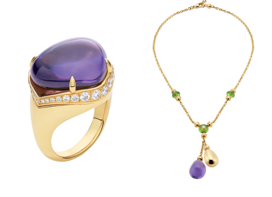 BVGARI ring and necklace purple