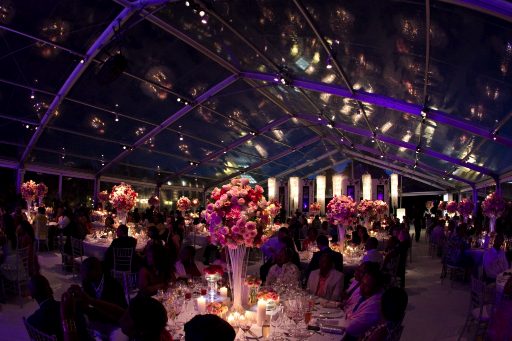 reception room at night with pink and purple theme