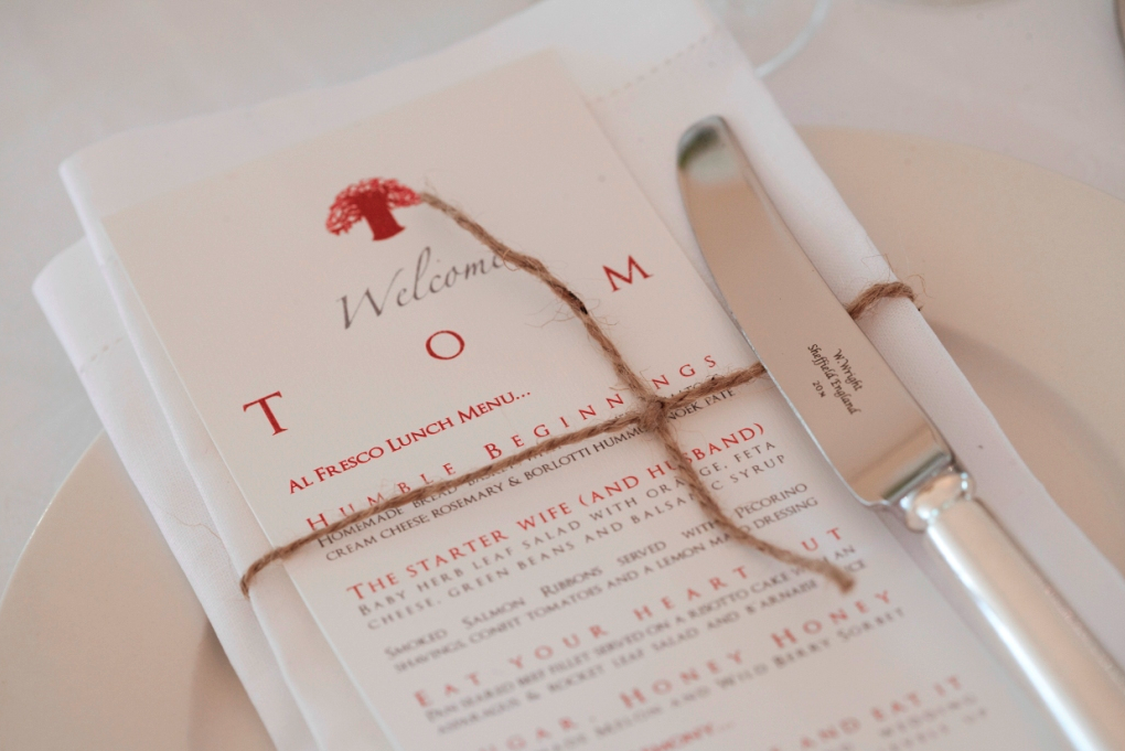 Red and white menu