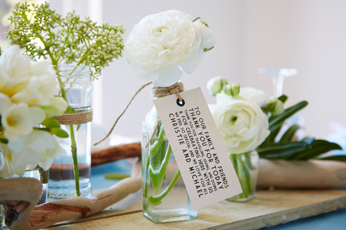 Wedding table decorations by Dragonfly Floral Design