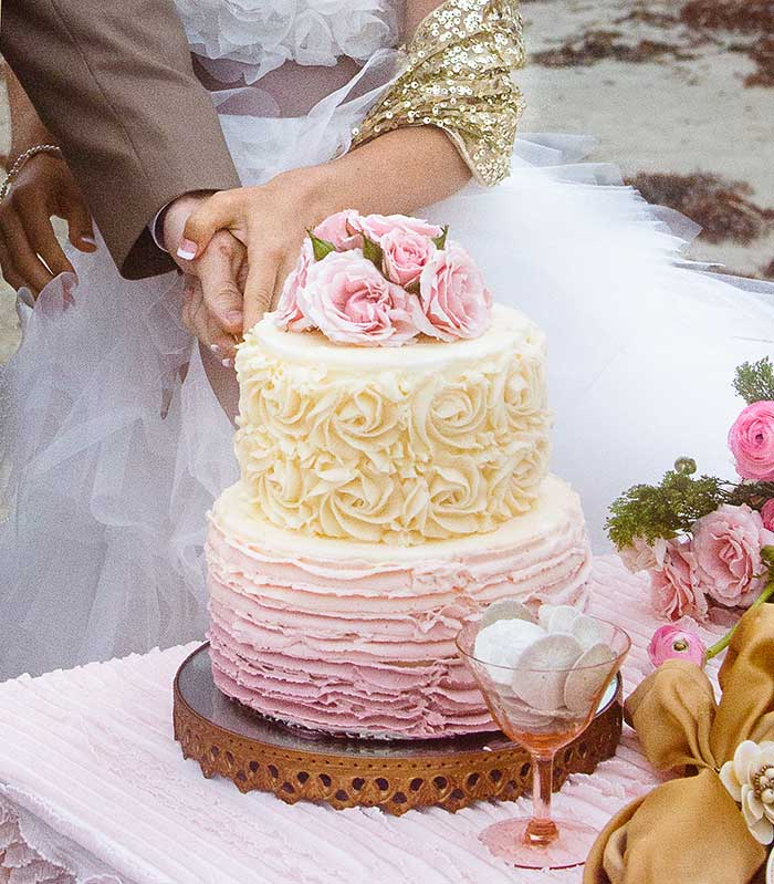 Sugar muse bakery - C baron photography - 20 Pretty Floral Wedding Cakes - Pink Ombre Cake